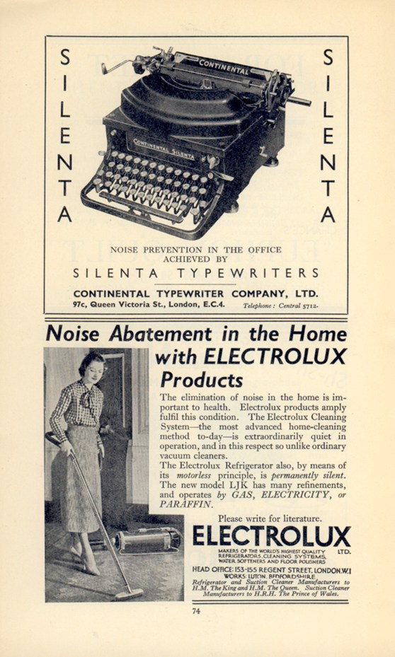 Printed advertisement for silenta noiseless typewriters made by Continental and a noiseless vacuum cleaner made by Electrolux