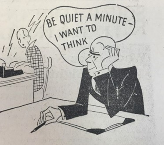 Black and white cartoon showing a professional male worker grumpily complaining about the noise made by his female typist