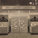 Black and white photograph of an anti noise league exhibition stand