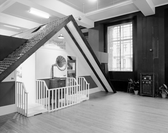 Black and white photograph of the entrance to the Trumpet Shall Sound phonograph exhibition at the Science Museum London