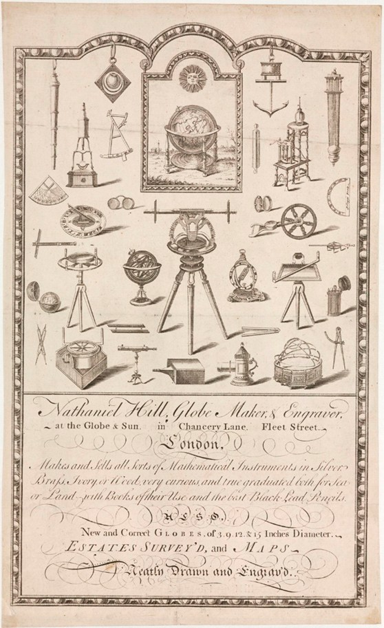 Advertising leaflet for Nathaniel Hill globe makers and engraver