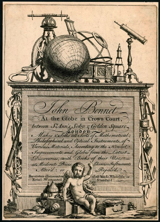 Advertising leaflet for John Bennett maker of mathematical philosophical and optical instruments