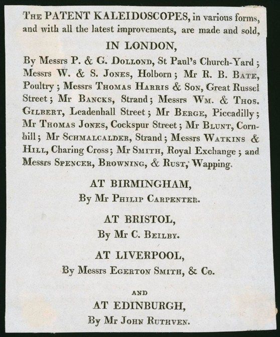 Advertising leaflet giving the names of patent kaleidocope makers across Great Britain