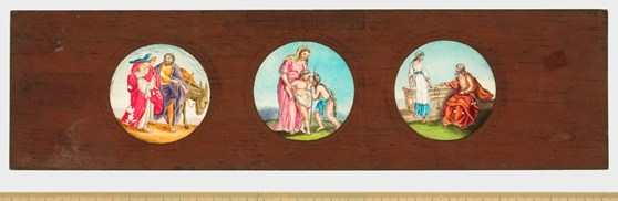 A Copper Plate Slider by Carpenter and Westley showing scripture Subjects The Flight into Egypt the Holy Family and Saint John and Christ and the Woman of Samaria
