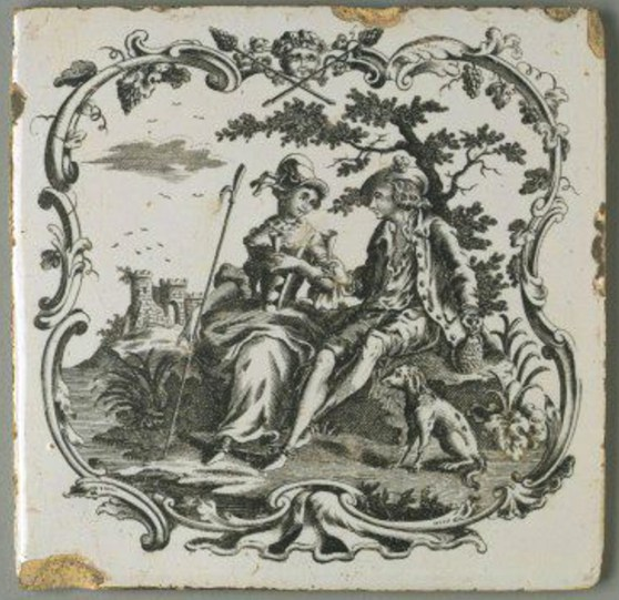 An earthenware tile with transfer printed decoration by Sadler and Green