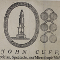 Advertising leaflet for John Cuff Optician Spectacle and Microscope maker