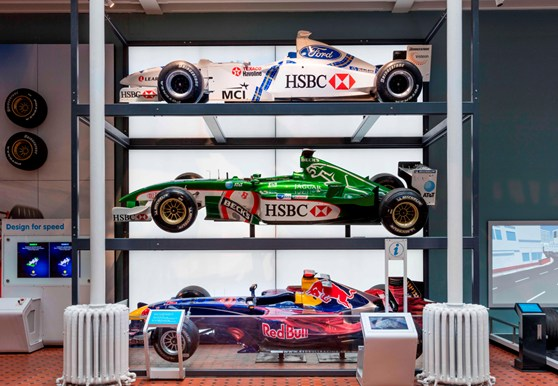 Formular 1 motor racing cars on display in the Science and Technology Galleries at the National Museum Scotland