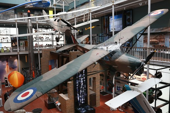 Hanging aircraft at the Science and Technology Galleries at the National Museum of Scotland