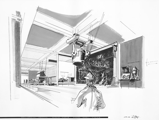 Artists impression of the iron and steel gallery constructed in the nineteen fifties at the Science Museum London