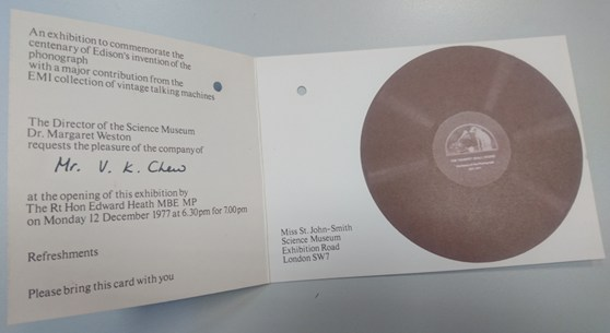 Colour photograph of an invitation to the opening of an exhibition at the Science Museum in 1977 commemorating the invention of Edisons phonograph