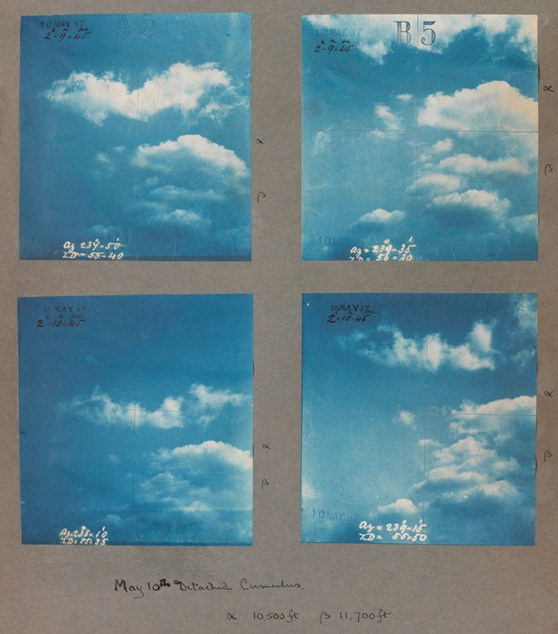A set of four colour photographs of cumulus cloud formations from 1887