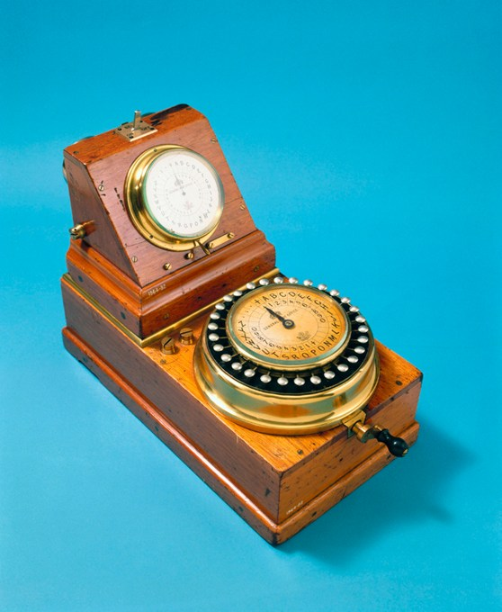 Colour photograph of Charles Wheatstone's ABC instrument from 1860 which combined the Communicator and Indicator into a single instrument. This instrument is stamped General Post Office