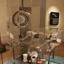 colour photograph of exhibition display cases showing various medical instruments old and new