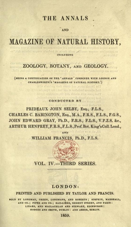 Front page of the Annals and Magazine of Natural History from 1859