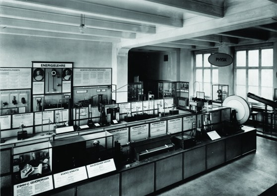 Black and white photograph of a past gallery exhibition within a technical museum