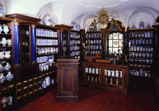 Colour photograph of the recreated diorama of an historic pharmacy