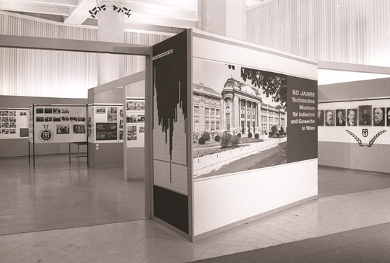 Black and white photograph of an exhibition celebrating fifty years of the Technical Museum in Vienna