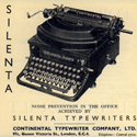 Newspaper advertisement for a silent typewriter and a silent vacuum cleaner