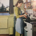 Page in a magazine showing a colour photograph of a woman cooking over a stove
