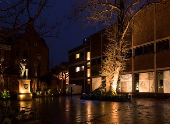 Colour photograph of a building and courtyard with lighting at the base of a tree and a statue