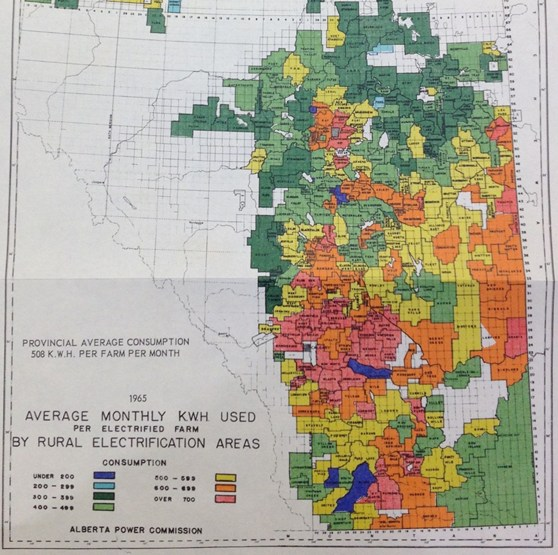 Colour coded Canadian map showing electricity usage per farm in rural areas