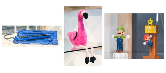 Colour photographs of a melodica instrument a stuffed flamingo toy and Super Mario figures