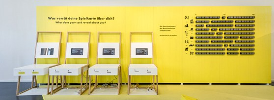 Colour photograph of a digital assessment station for use by museum visitors