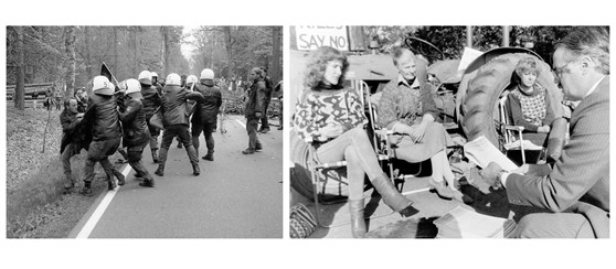 Black and white photographs of violent and peaceful nuclear demonstrations
