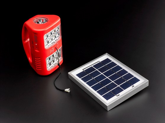 Colour photograph of a solar powered light kit