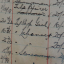 Photograph of a ledger showing appointments to rail works