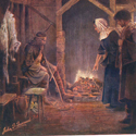 Postcard reproduction of a painting of Alfred the Great visiting a neatherds cottage