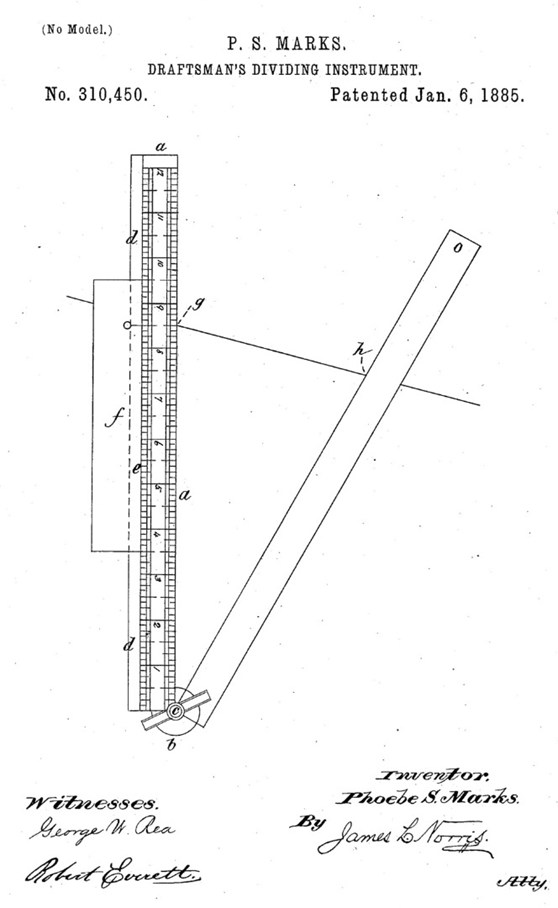Pen and ink illustration of a draftmans dividing instrument