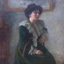 Pastel portrait of Hertha Ayrton seated before the artist