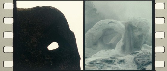 Film still composite of two photographs showing natural holes in rock and ice