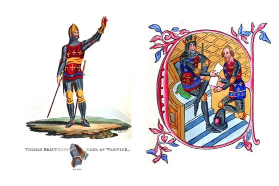 Composite of two paintings showing Thomas Beauchamp Earl of Warwick in a suit of armour and Edward third granting the principality of Aquitaine to his son Edward