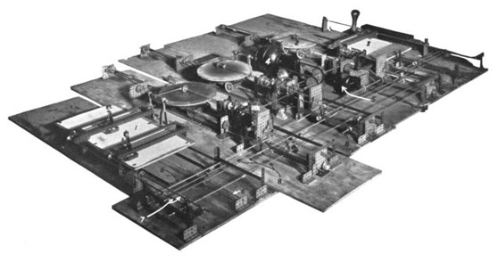 Black and white photograph of a differential analyser meccano model built in 1934