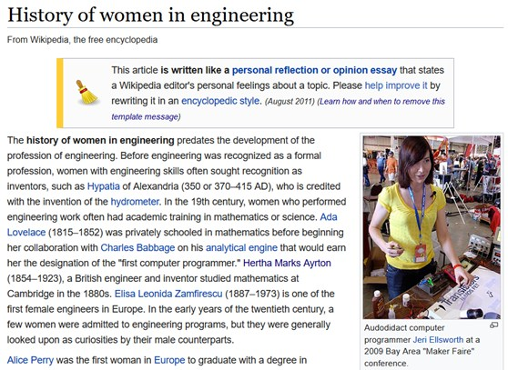 Screenshot from the Wikipedia page Women in Engineering