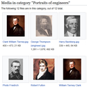 Screenshot from Wikipedia entitled portraits of engineers most of whom are men