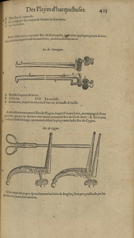 Historical book illustration showing bullet extraction instruments