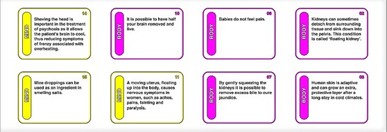 Computer generated image showing typical cards of the medical history game