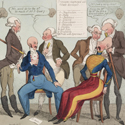 Coloured etching cartoon showing phrenologists examining military personnel