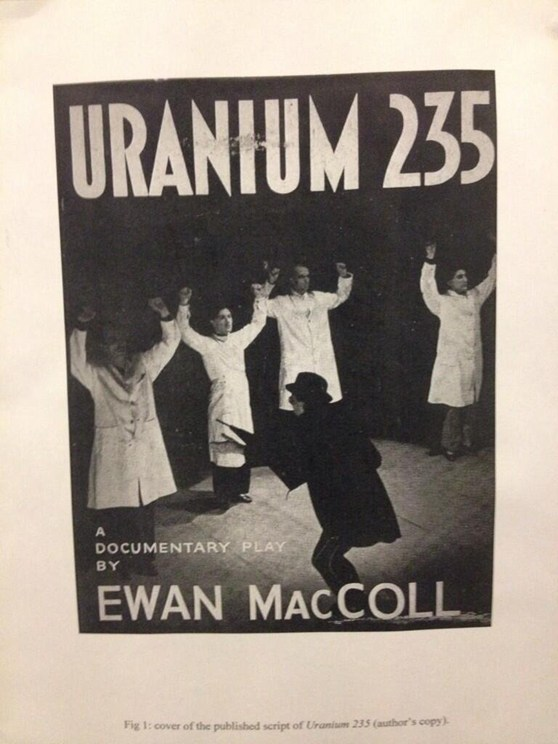 Cover of the published script of Uranium 235 a documentary play by Ewan MacColl