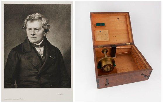 Photogravure portrait of Georg Simon Ohm alongside a colour photograph of a standard one ohm resistor circa1883