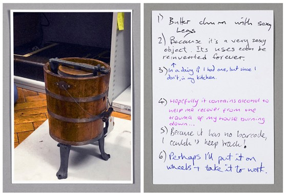 Postcard showing an image of a wooden butter churn and hand written answers to questions