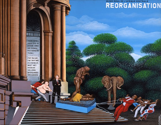 Oil painting depicting the struggle between a museum and a local population to retain cultural artefacts