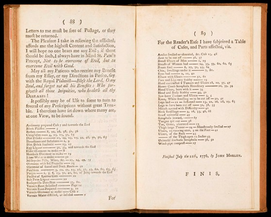 Double page spread from a book showing an index