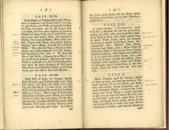 Double page spread from a book showing annotations