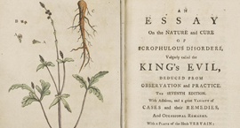Colour photograph of the title page and plate insert of an Essay of the Nature and Cure of Scrophulous Disorders