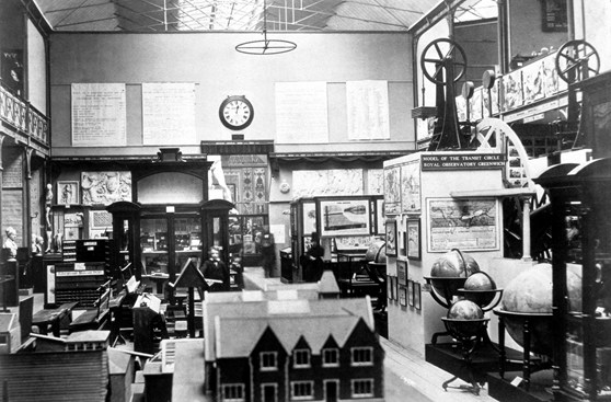 Black and white photograph of the Education Collection at the South Kensington Museum including the Transit Circle
