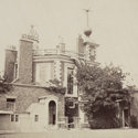 Sepia photograph of Flamsteed House and the courtyard of the Royal Observatory Greenwich mid nineteenth century